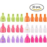 Teenitor 30 Pieces 6 Color Reusable Toenail Nail Art Soak Off Cap Clip UV Gel Polish Remover Tool
