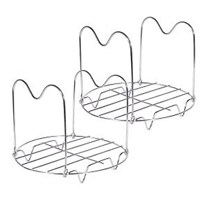 Canning Rack,2 Pack Stainless Steel Steamer Rack Trivet with Handles for Instant Pot Accessories 6 Quart 8 Quart Pressure Cooker Trivet Wire Steam Rack Stand for Cooking