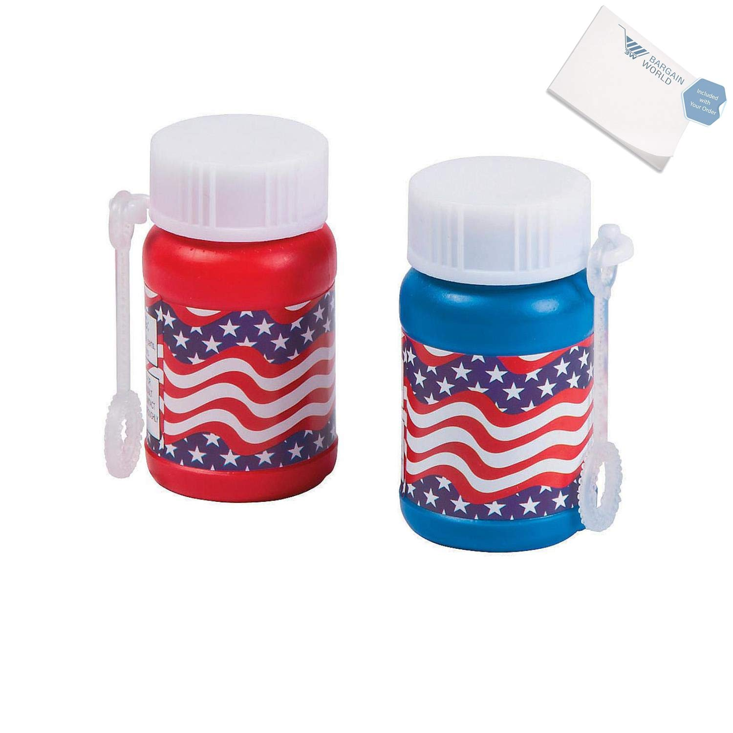 Bargain World Plastic Mini Stars And Stripes Bubble Bottles (With Sticky Notes) by Bargain World (Image #1)