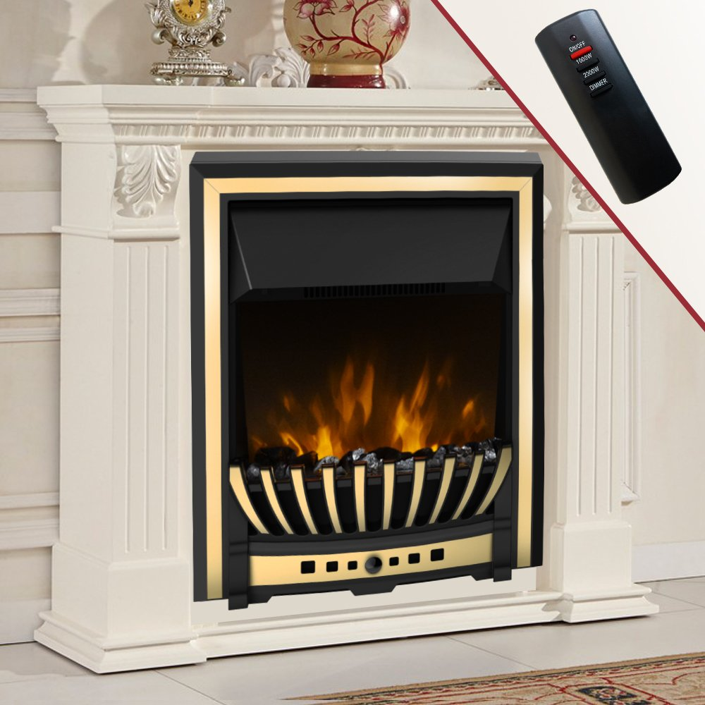 Flame Effect Electric Fires Part - 48: Wickenby 2KW Remote Control Modern Electric Fireplace LED Fire Place Heater  Insert Flame Effect Stove: Amazon.co.uk: Kitchen U0026 Home