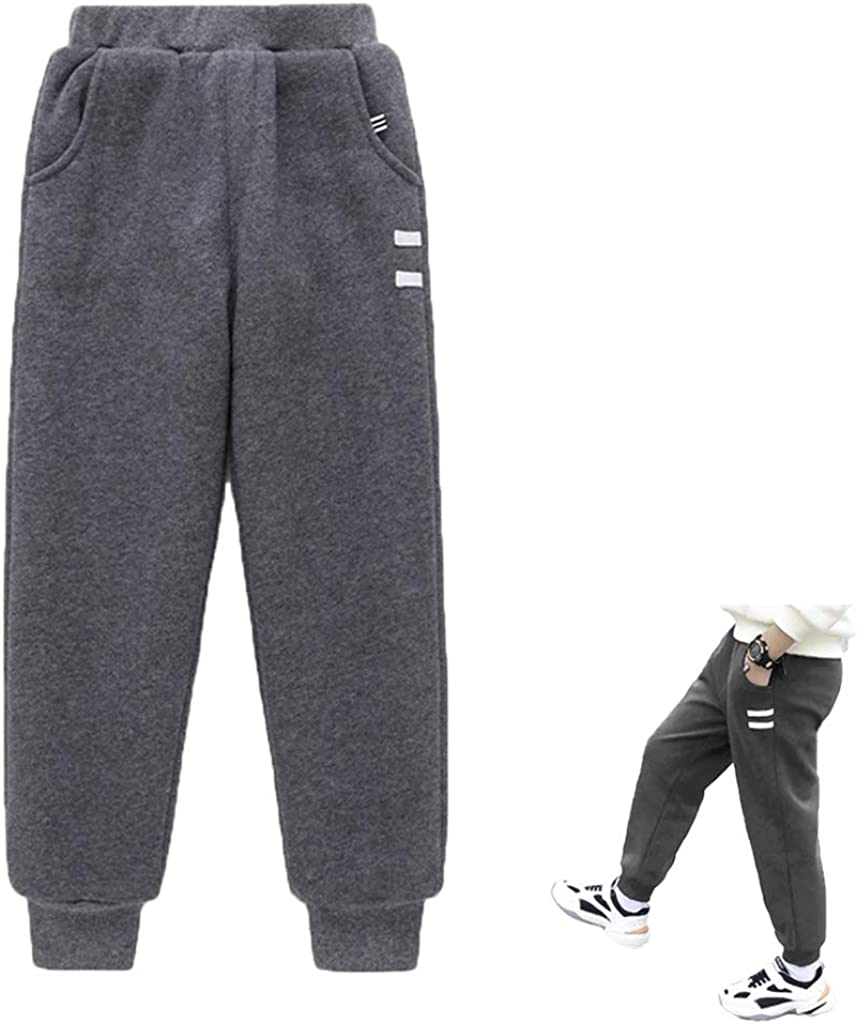 Kids Boys Girls Winter Thick Warm Jogging Pants Fleece Lined Trousers Joggers Tracksuit Bottom 3-11 Years