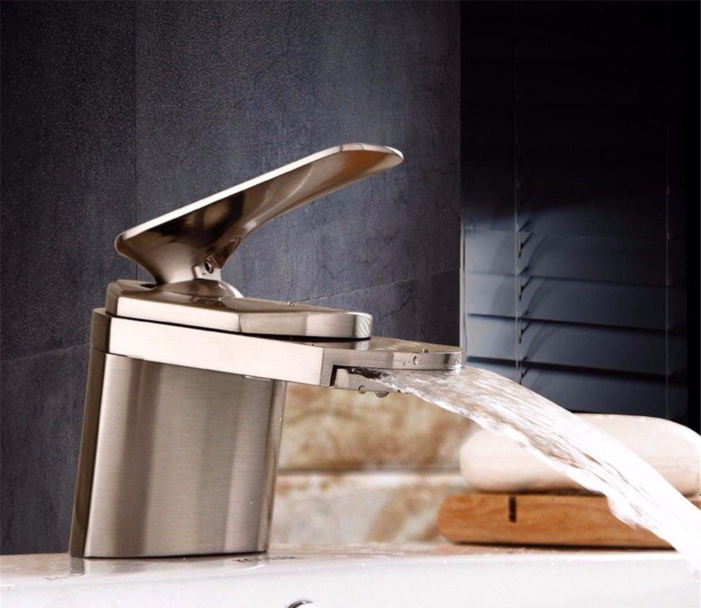 AQiMM Wasserhahn Wasserfall Armatur Waschtischarmaturen Messing Warmes Und Kaltes Wasser Einzelne Bohrung Wasserfall  Waschbeckenarmatur Für Badezimmer Waschbecken