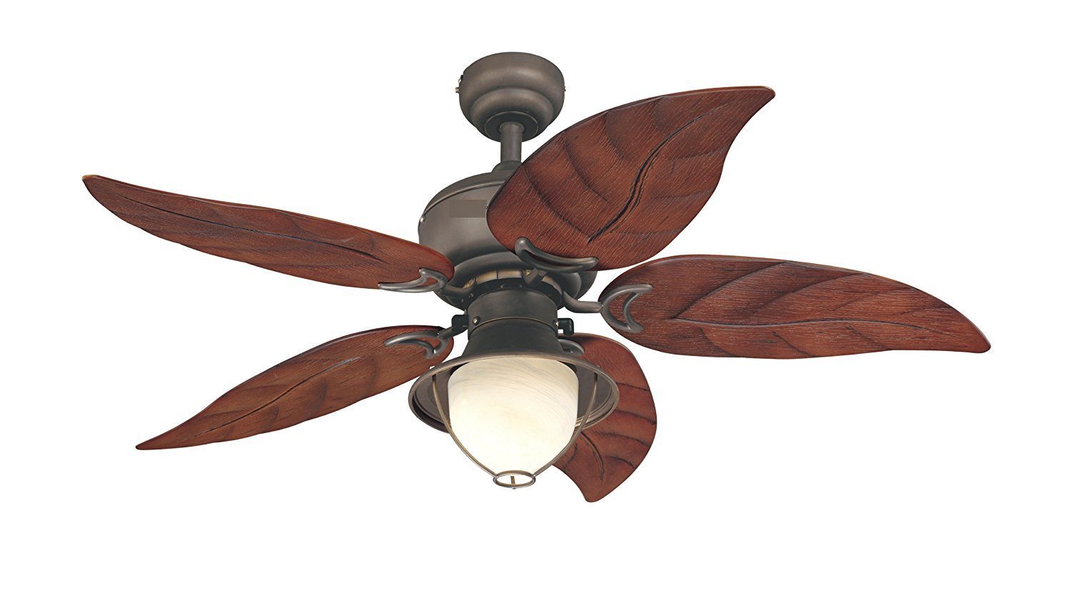 48-Inch Five-Blade Indoor/Outdoor Ceiling Fan Oil Rubbed Bronze with Yellow Alabaster Glass
