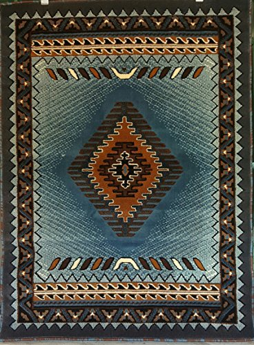 South West Native American Area Rug Blue amp Brown Design D143 5 feet 2inches X7 feet