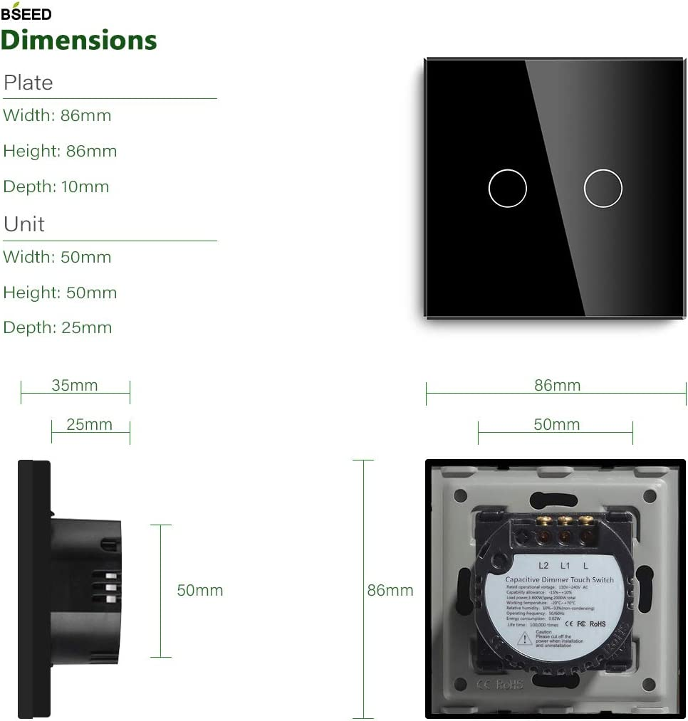 BSEED 300W LED 2.4GHz Smart WIFI Dimmer Interruptor t/áctil de luz de pared Funciona con Alexa//Tuya//Google Home//IFTT 1 Gang 1 Way Blanco se necesita l/ínea neutral