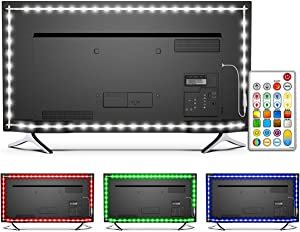 Bason LED TV Backlight,RGBW LED Strip Lights with 29 Keys Remote, DIY Colors and Mini Hidden Controller,IP65 Protective Glue TV Lights,Bringing The Better Experience for Gaming and Movie(60-70in)