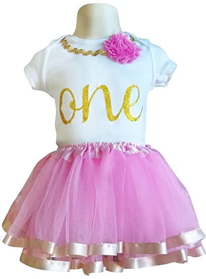 3a7e920816 Image Unavailable. Image not available for. Color  First Birthday Outfit  Girls Pink   Gold ...