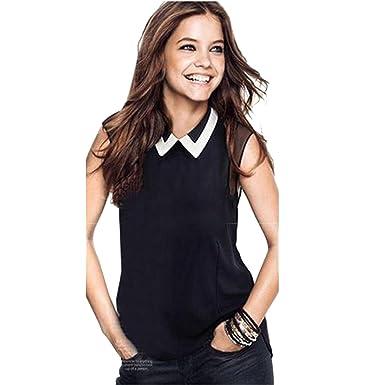dc44f159105b20 Internet Women Summer Casual Loose Chiffon Sleeveless Vest Blouse Shirt  (XS, Black)