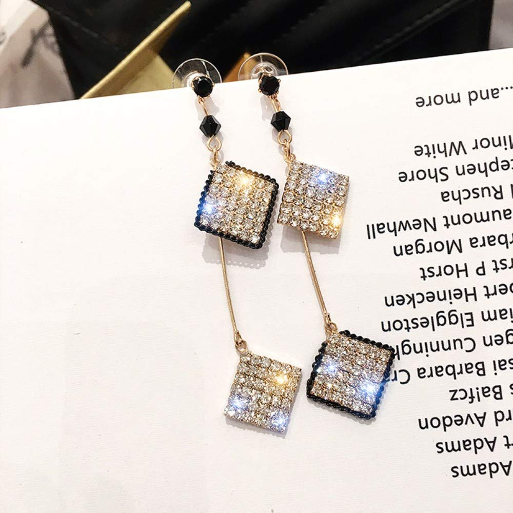 LSDAMW Earrings For Women Drop Dangle Girls Super Flash Square Asymmetric Long Earrings Tassel Earrings
