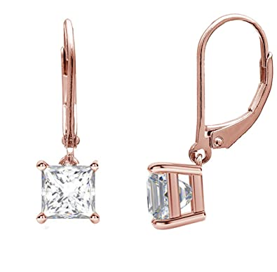 b9ea75e31 2-10MM Sterling Silver Princess Cut Square Drop Dangle Lever Back Cubic  Zirconia Earring BEST
