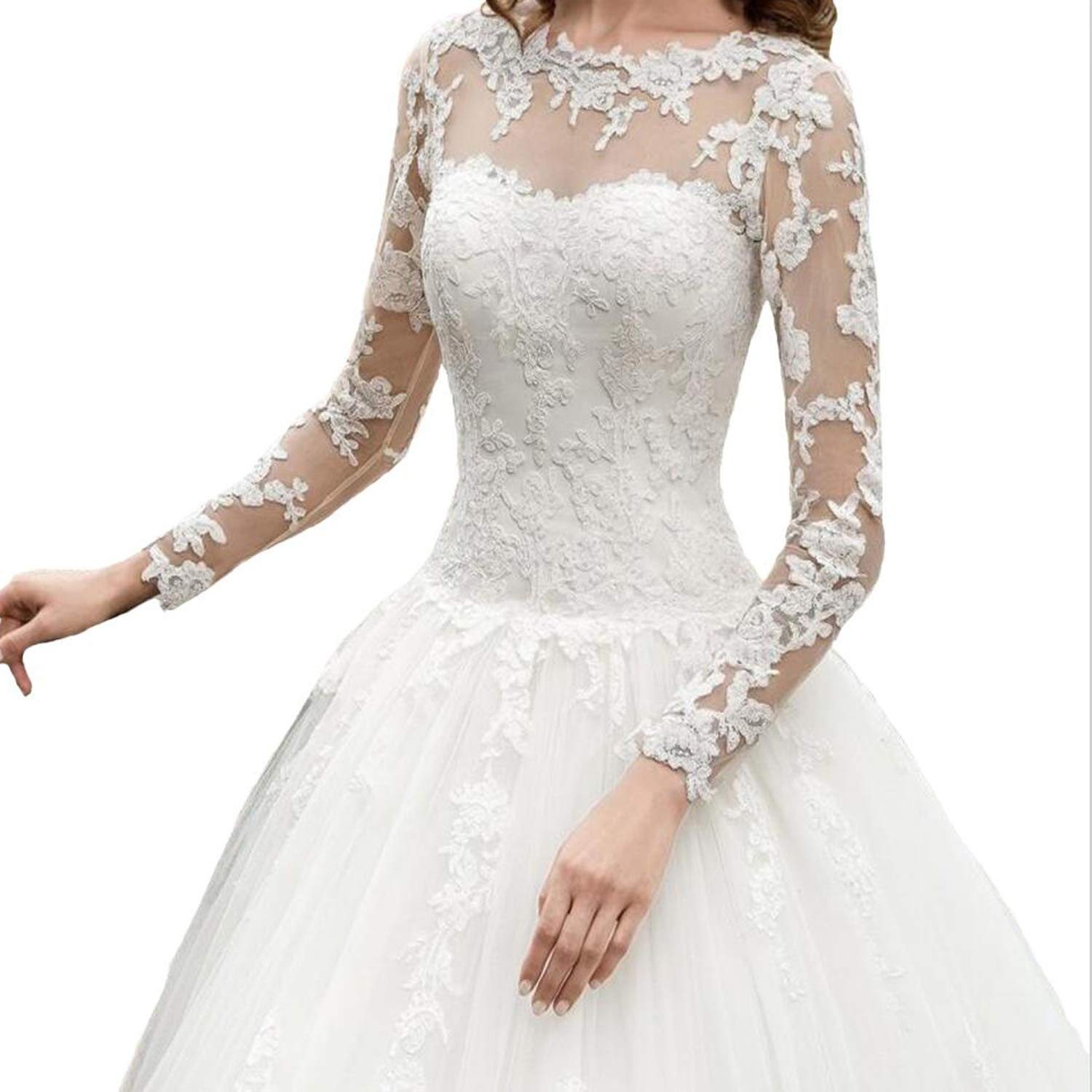 OWMAN New Womens Long Sleeves Scoop Lace Ball Gown Wedding Dress Bridal Gowns FLLH059