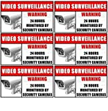 "Outdoor/Indoor (6 Pack) 3.54"" wide X 2.24"" high Home Business Security DVR Camera Video Surveillance System Window Door Warning Alert Sticker Decals **Back Self Adhesive Vinyl**"