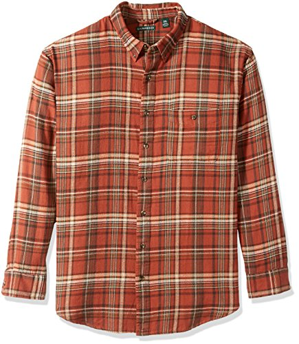 (G.H. Bass & Co. Men's Big and Tall Fireside Flannel Plaid Long Sleeve Shirt, Arabian Spice, X-Large Tall)