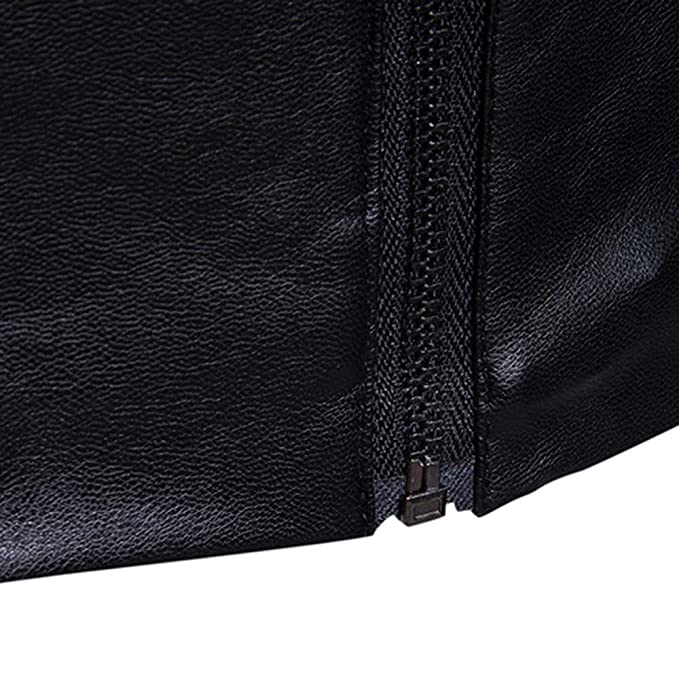Toimothcn Men PU Leather Jacket Full Zipper Biker Motorcycle Outwear Warm Coat at Amazon Mens Clothing store: