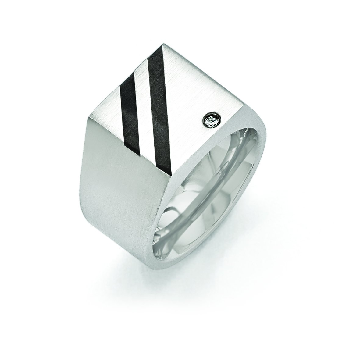Shop4Silver Stainless Steel Brushed Black Ip-Plated Cz Ring