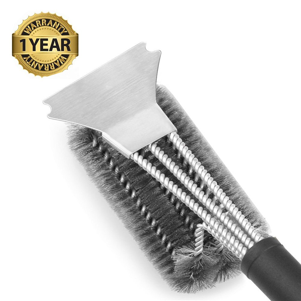 Bristle Free Grill Brush - willway Best BBQ Brush for Grill, Safe 18 Stainless Steel Woven Wire 3 in 1 Bristles Grill Cleaning Brush for Weber Gas/Charcoal Grill, Gifts for Grill Wizard yutuo