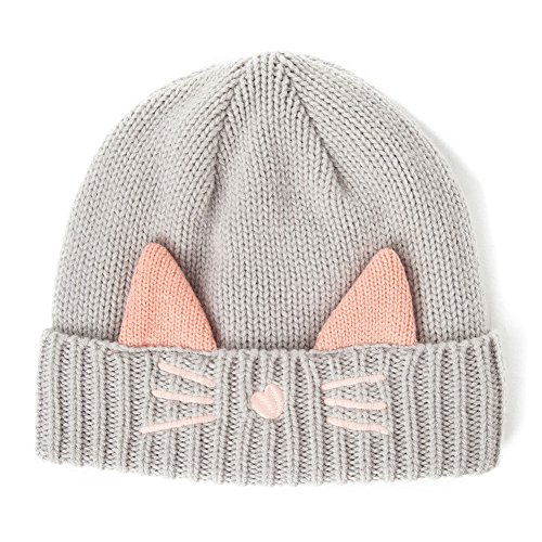 (SIGGI Cat Ears Beanie Pussy Cat Hat Wool Knit Womens Winter Fleece Beanie Hats Warm Skull Cap Grey Gray)
