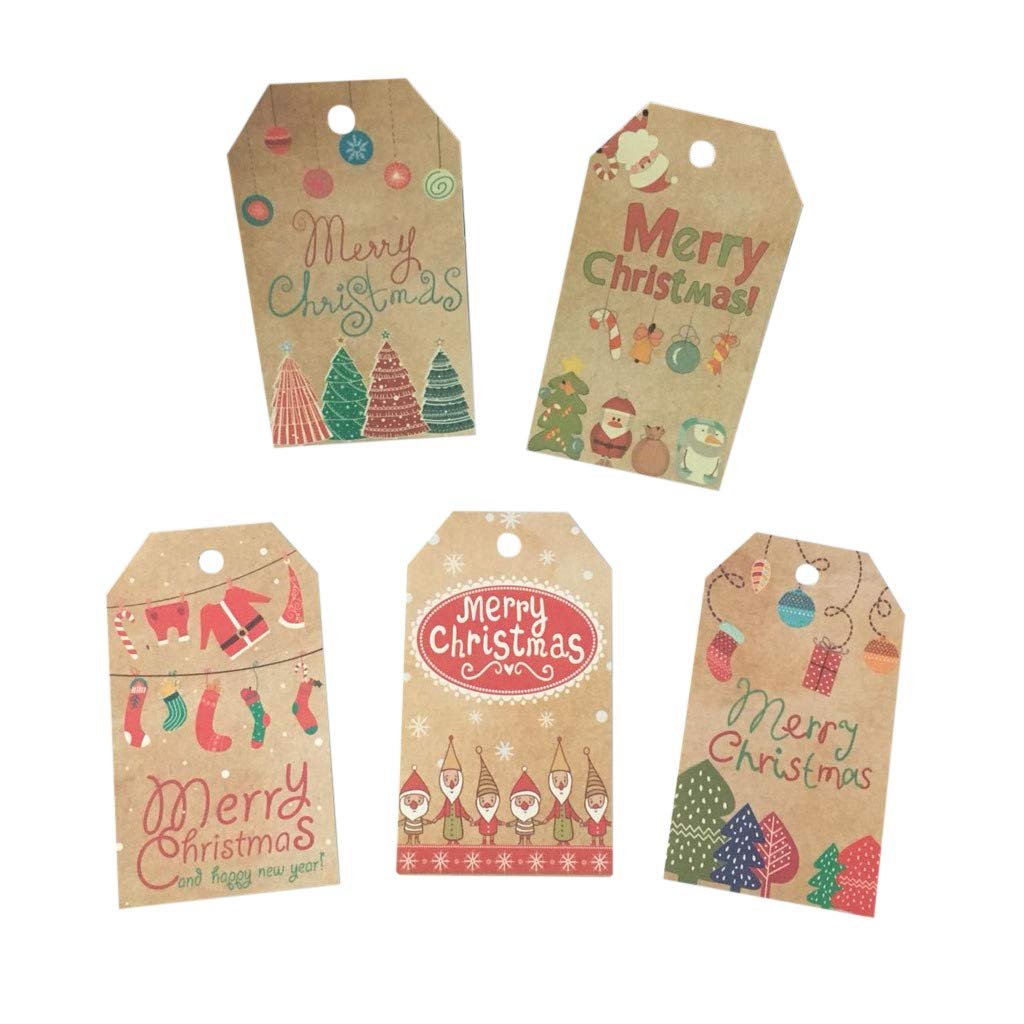 Lenfesh Merry Christmas Greeting Card Kraft Paper Tag Set Santa Gift Baking Packaging 50PCS Xmas Party Supplies Gifts for Friends