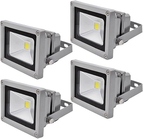 4X 10W Luz Foco Proyector LED Blanco Frio Foco Exterior Foco de ...