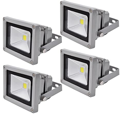 4X 10W Luz Foco Proyector LED Blanco Frio Foco Exterior Foco de pared Aluminio IP65 Impermeable