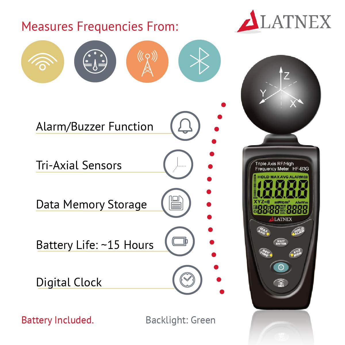 LATNEX HF-B3G Triple Axis HF RF Power Meter Analyseger/ät und Detektor Messen EMF radiation-cell phones-smart meters-cell towers-wifi-microwave-blouetooth-calibrated-used f/ür EMF Home inspections