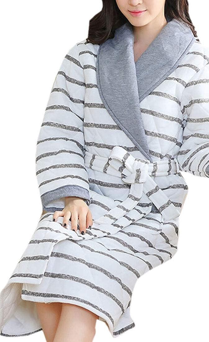10 Keaac Women Cute Cotton Flannel Fleece Long Sleeve Cozy Bath Robe Sleepwear