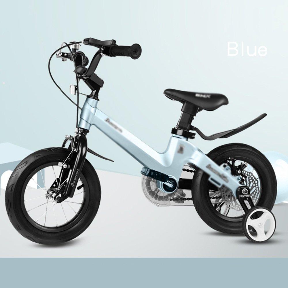 YANFEI 子ども用自転車 子供用自転車サイズ12-14-16-18グレーブルーピンクフェンダーとスタビライザーブラケット 子供用ギフト B07DZC2JWS 16 inch|青 青 16 inch