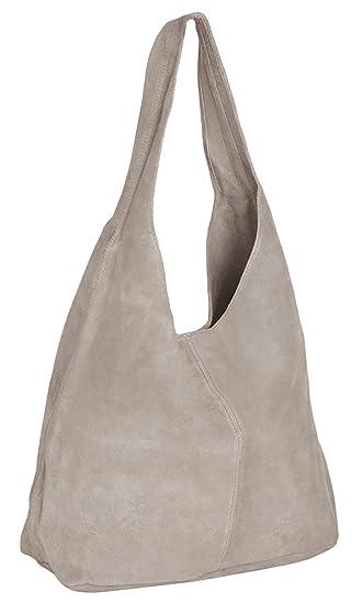 ImiLoa Ledertasche Tasche Groß Shopper Wildleder Handtaschen  Schultertaschen Beuteltasche Leder Lederhandtasche (Beige Taupe)