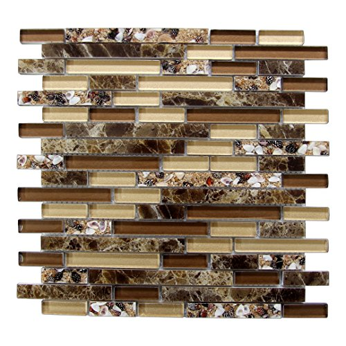 Art3d Genuine Shell Mosaic Tile Artificial Resin Marble Tile for Kitchen Backsplash or Bathroom Backsplash (5 Pack) ()