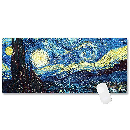 CENNBIE Durable XXL Size Mouse Pad Large Starry Night Game/ Office/ Home/ Desk Mouse Pad/ Keyboard Mat Anti-slip For Laptops Computers Ultrabook 35.4 x 15.5in (Edge Stitched)
