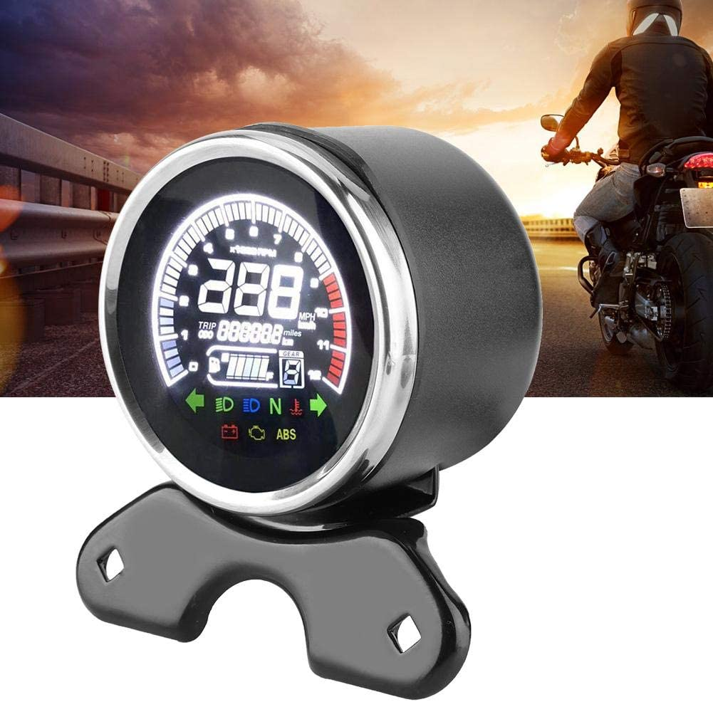 Estink Digital Tachometer Motorcycle,12V LCD Display Digital Odometer Speedometer Tachometer Water Temperature Gauge