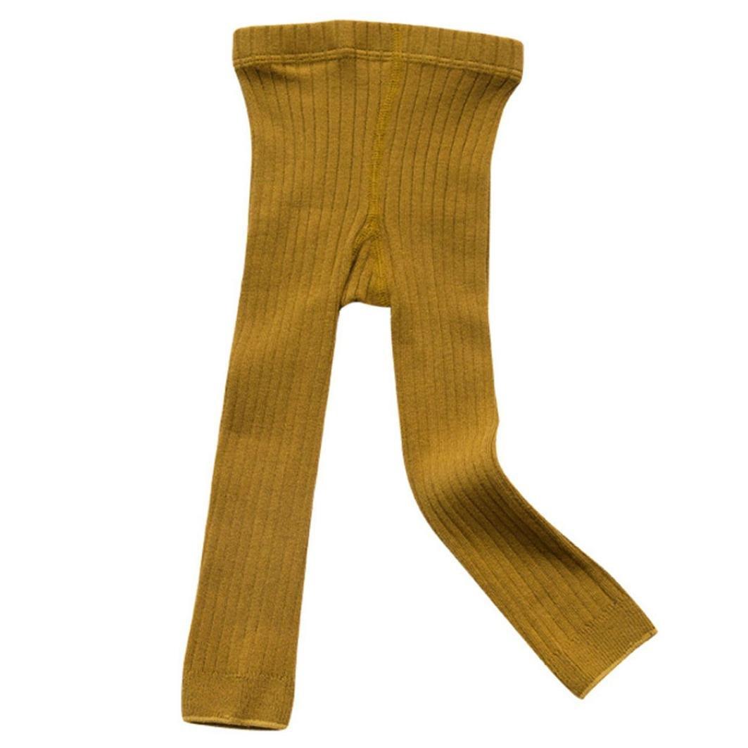Girls' Footless Tight, Footless Leggings Pants Tights Warm Stockings for Toddler Kids (Yellow, S)