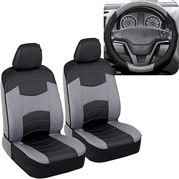 2 Black Synthetic Leather Sideless Seat Covers and Steering Wheel Cover for Jeep