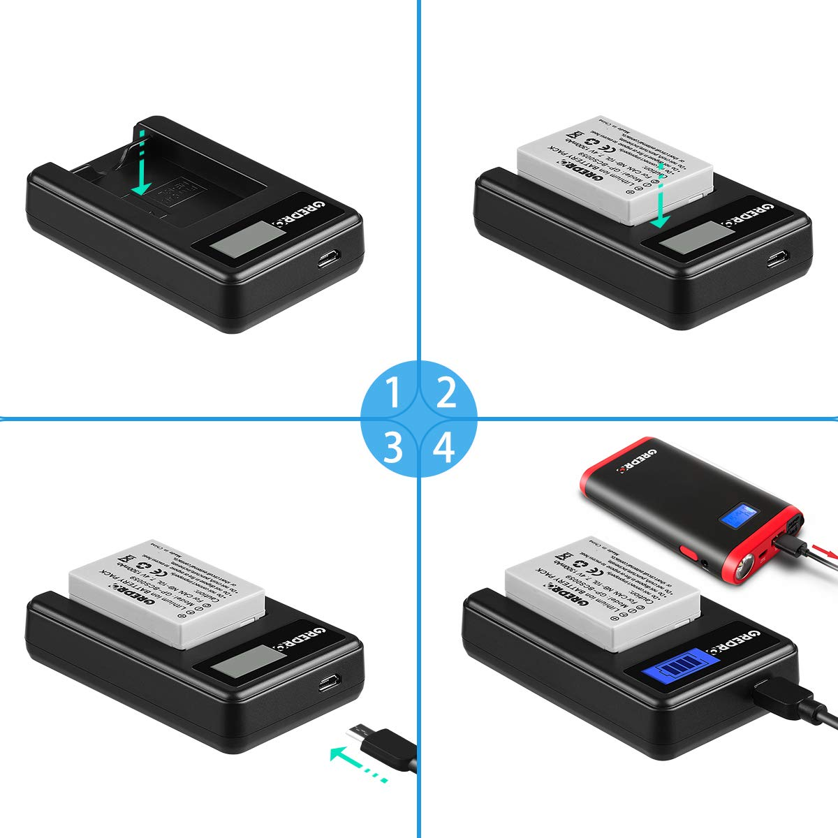 D3300 D5200 D3100 D5100 DF Coolpix P7000 D5300 D3200 Grepro EN-EL14 EN-EL14A Dual Slot LCD USB Camera Battery Charger Set 2 Pack Rechargeable Lithium-Ion Battery Charger Kit 100/% Compatible with Nikon D5600 P7100 No Memory Effect D5500 P7200