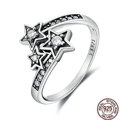 Amazon Com F F Ring Sterling Silver Dazzling Shining Star Finger