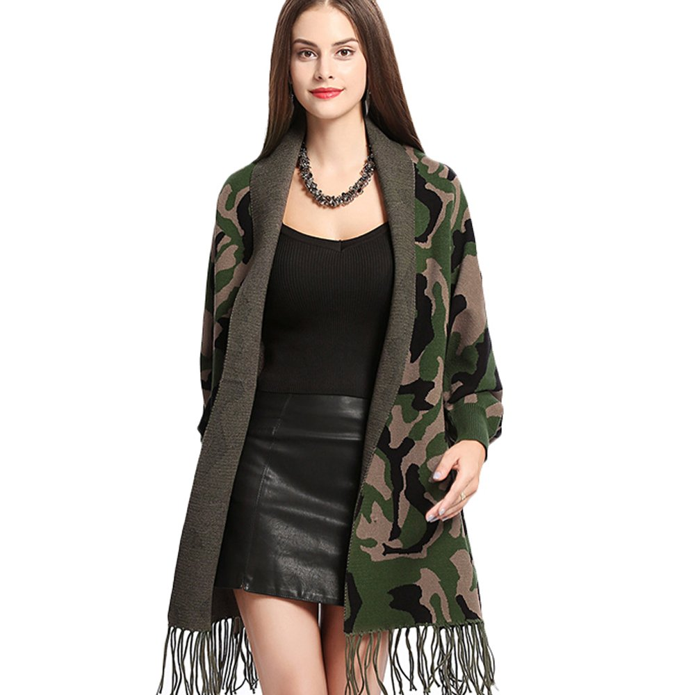 Women Poncho Embroidery Cloak Shawl Wrap Fashion Scarf with Bat Sleeve Tassels Pashmina (Green camouflage) by ZISUEX