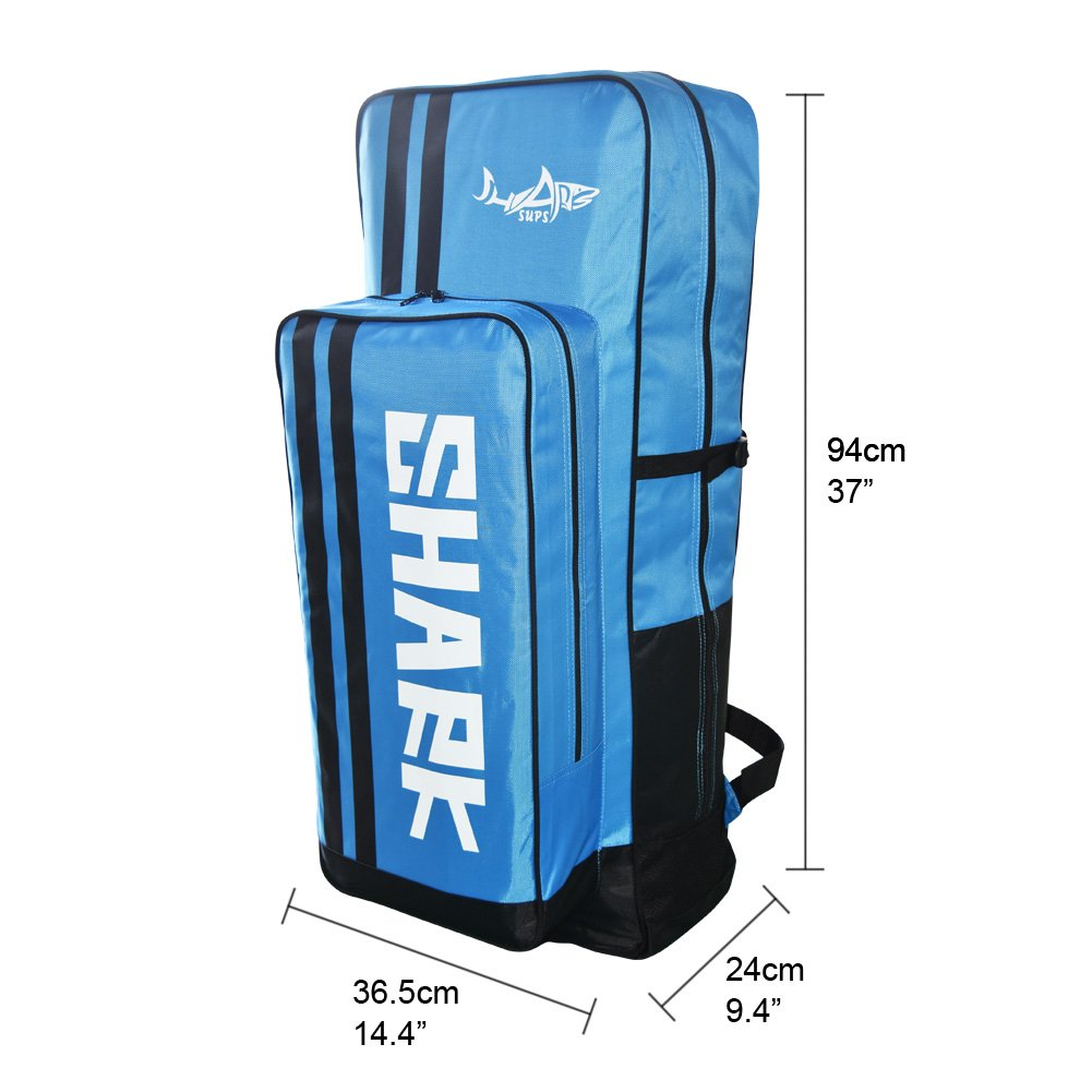 Shark SUPs Backpack Bag for Traveling Bag and Stand up Paddle Board Inflatable (Blue)