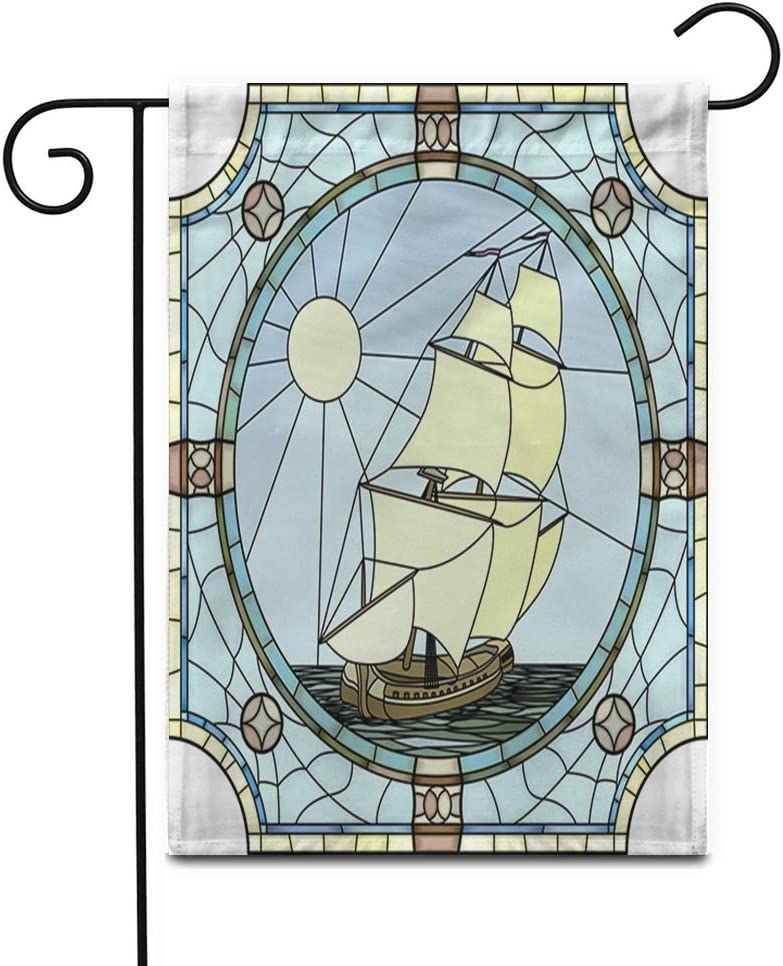 """Awowee 28""""x40"""" Garden Flag Mosaic Large Cells of Sailing Ships The 17Th Century Outdoor Home Decor Double Sided Yard Flags Banner for Patio Lawn"""