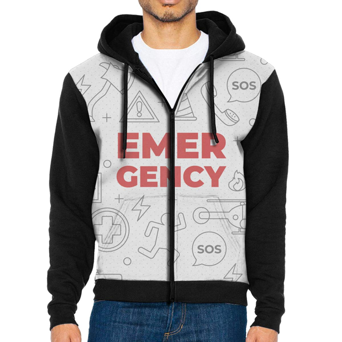 MHBGMYES Emergency Word Concept Lightweight Mans Jacket with Hood Long Sleeved Zippered Outwear