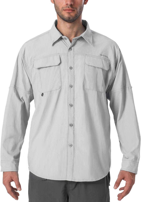 Naviskin Men's UPF 50+ Sun Protection Outdoor Long Sleeve Shirt Lightweight Quick-Dry Cooling Fishing Shirts : Clothing