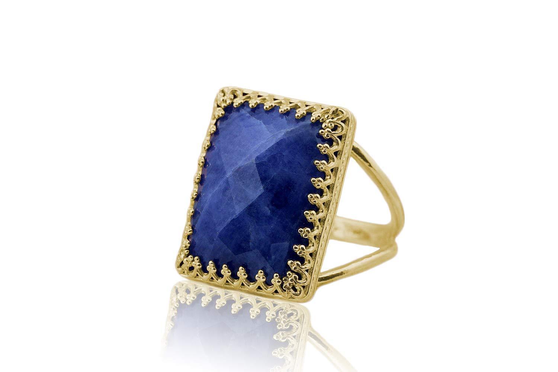 Sodalite ring,rectangular gold ring,statement ring,double band ring,gemstone ring,healing ring
