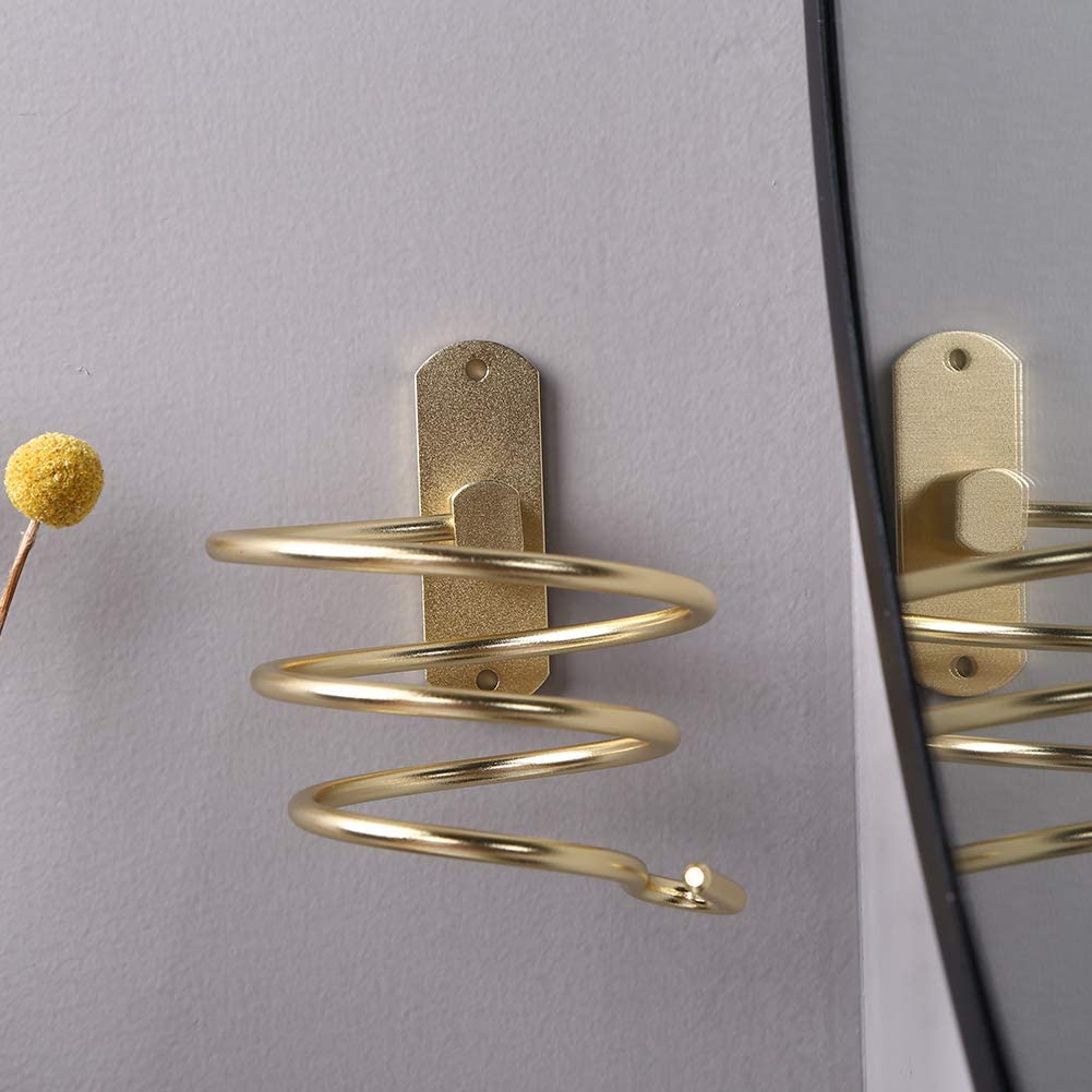 Prosperveil Haartrockner-Halterung Metall Organizer mit Befestigungsschrauben Gold spiralf/örmig Wandregal Wandmontage f/ür Badezimmer