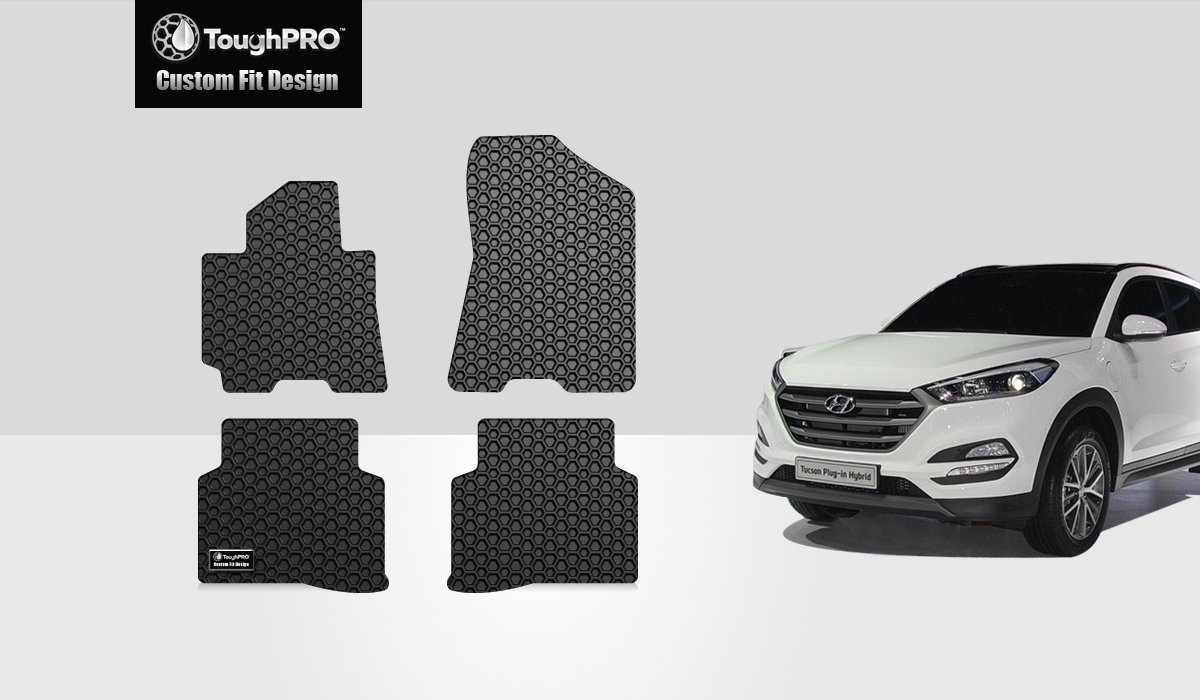 ToughPRO Floor Mats Set Compatible with Hyundai Tucson 2016-2017-2018-2019 AUTO MATS ZONE INC All Weather Black Rubber Heavy Duty