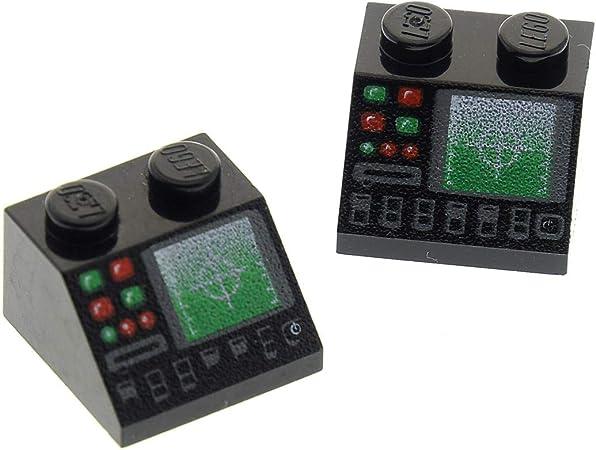1 x Lego System Dachstein schwarz 45° 2 x 2 bedruckt mit Horizont Bildschirm Dac