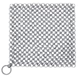 Aorange Cast Iron Cleaner, Chain Mail Scrubber for Cast Iron Pans for Kitchen, Cast Iron Skillet Cleaner for Dutch Ovens, Iron Skillet Brush for Waffle Iron Pans, Chain Mail Scrubber for Grills