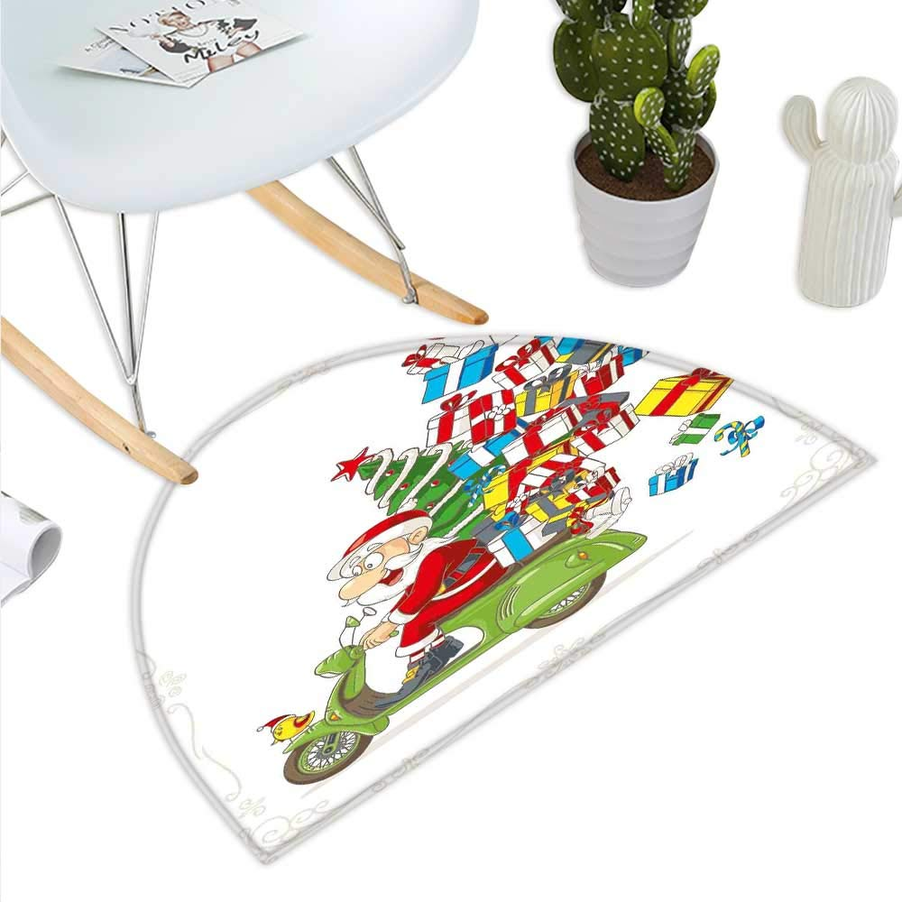 color01 H 47.2  xD 70.8  Christmas Semicircle Doormat Snow Time with Falling Flakes and Bokeh Backdrop Fir Twigs with Cones and Stars Halfmoon doormats H 27.5  xD 41.3  Multicolor