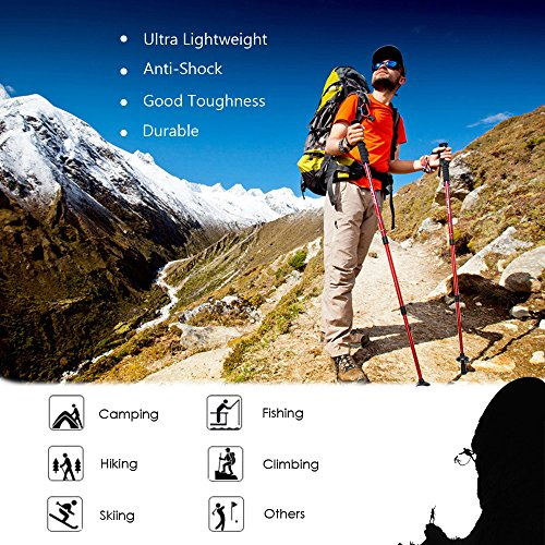 Walking Stick,MiluoTech Trekking Poles Ultralight & Adjustable Height and Anti Shock Backpacking Climbing Hiking Poles One Pair