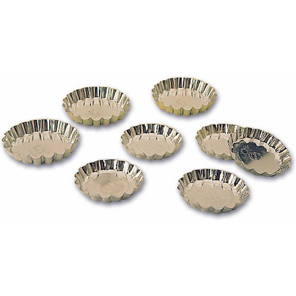 Matfer Bourgeat Tinplate Round Fluted Tartlet Baking Pan, 4'' Diam, 12PK 343508