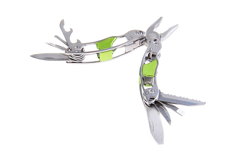 Huntington Traveler, mini herramienta multiusos: alicates con 8 herramientas, cuerpo y herramientas de acero inoxidable, color verde, MT816IG-02 (DE) The Khan Outdoor & Lifestyle Company