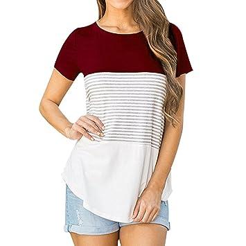 T-Shirt Damen, Sundau Frauen Kurzarm Dreifach Farbe Block Streifen T-Shirt  Casual
